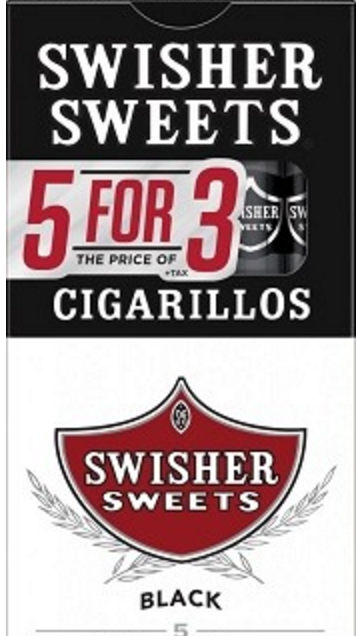 SWISHER SWEET CIGARILLO 5FOR3 BLACK