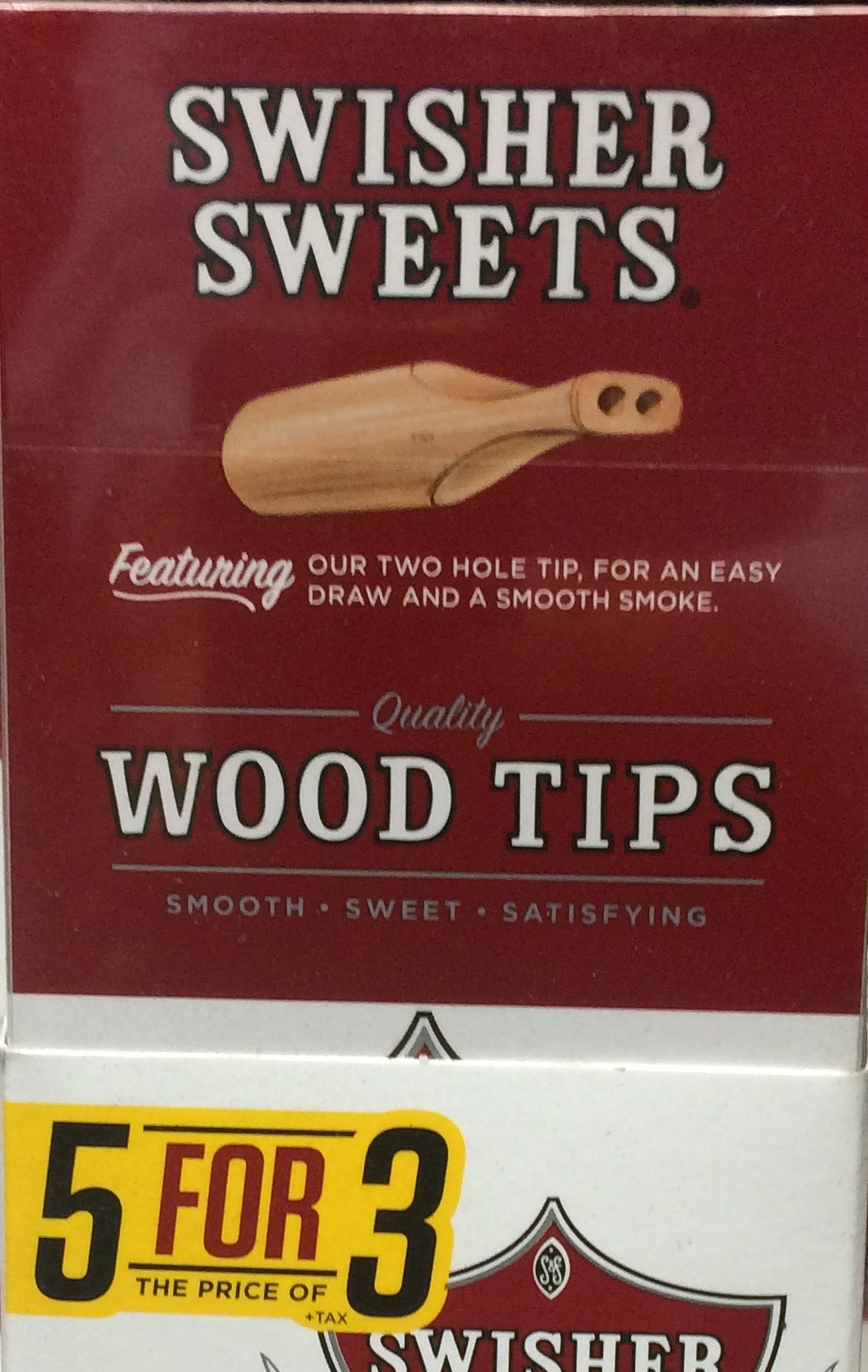 SWISHER SWEET WOOD TIP CIG 5/3 PK