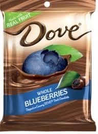 DOVE DARK CHOC WHOLE BLUEBERR BX/16