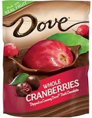 DOVE DARK CHOC WHOLE CRANBERR BX/16