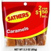 SATHERS CARAMELS 2/$1.50