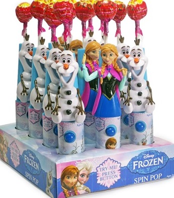 NOVELTY DISNEY FROZEN SPIN POP BX12