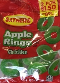 SATHERS APPLE RINGS 2/$1.50
