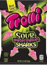 TROLLI SOUR WATERMELON SHARKS BX/18