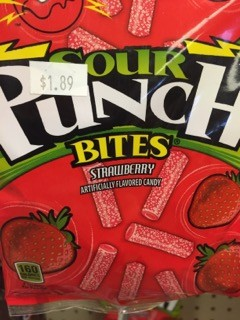 SOUR PUNCH BITES STRAWBERRY BOX/12