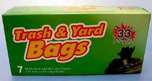 TRASH & YARD BAGS 33 GALLON ROSEWOO
