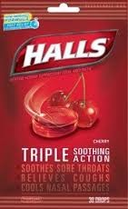 HALLS CHERRY COUGH DROPS BAG/30